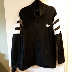 Adidas mens black/white lined athletic jacket. 2XL